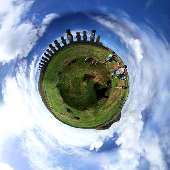 Outdoors Sky Cloud - Sky Blue No People Planet Earth Nature Fish-eye Lens Day Beauty In Nature Full Frame Enjoyment Freshness Fun Chile Rapanui  Easterisland Peace Love Nature