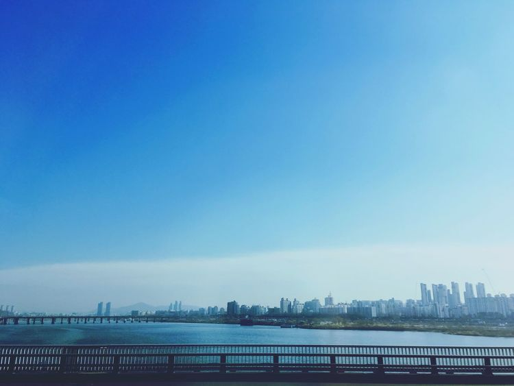 Hangang Seoul Blue Clear Sky Water No People Cityscape Day Sky Nature City Outdoors River View In The Bus Rush With Friend