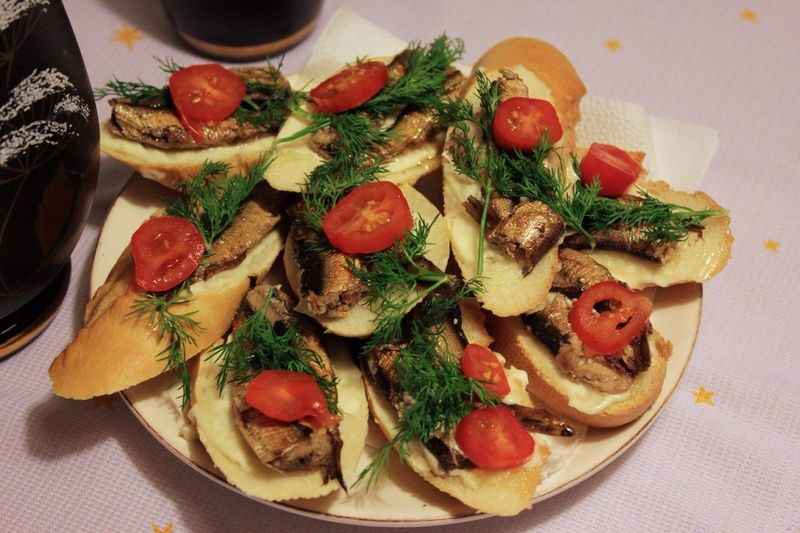 Close-Up Of Butterbrot Sandwiches Served In Plate