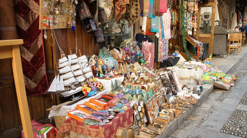 If you can't find it here, you really don't need it, do you? Abundance After Christmas Sales Arab World Colorful Marketplace Souk Dating Back To Phoe The Old Souk In Jbeil