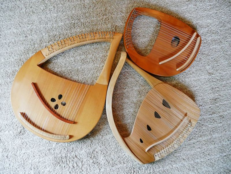 three lyres Lyres Musical Instrument Stringed Instrument Solo Lyre my lyres tuned and ready to play. Premium Collection Wooden Musical Instruments
