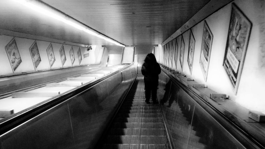 Black & White Light And Shadow Black And White Streetphotography Streetwiew Indoors  Metro Station Metro Scale Mobili Station Roma Rome, Italy Italy Full Length Illuminated Walking Men Architecture Built Structure Underground Walkway Subway Escalator