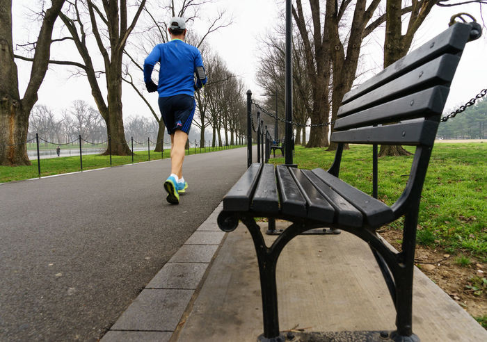 Adult America Bench Bridge Fog Foggy Guy International Landmark Jogger Memorial Monument National Park Rain Runner Showcase: January Sightseeing Travel USA Virginia War Washington Washington, D. C. World On The Way