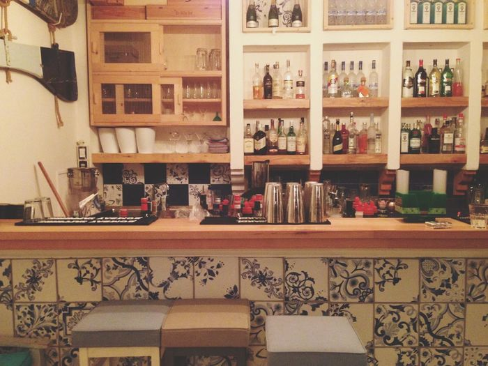 Le Gatte Indoors  Food And Drink Drink Alcohol Bar Restaurant Italy Bottle No People Blue Southitaly Castellabate