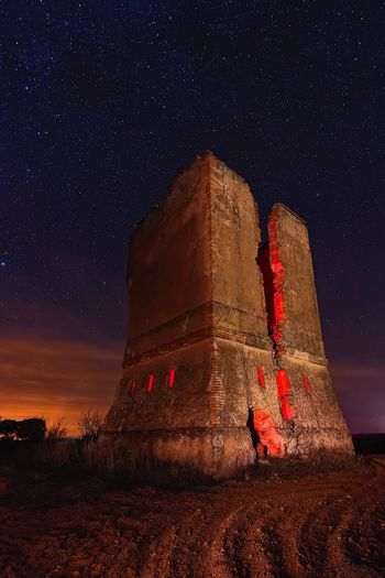 Nightphotography Night Photography Abandoned Buildings Abandoned Places Abandoned Tower Night Star - Space Astronomy Red No People Architecture Outdoors Sky