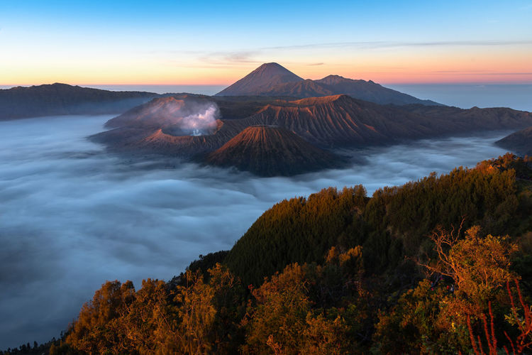 Beauty In Nature Cloud - Sky Environment Idyllic Mountain Mountain Peak Nature No People Non-urban Scene Outdoors Plant Remote Scenics - Nature Sky Sunset Tranquil Scene Tranquility Travel Destinations Tree Volcanic Crater Water