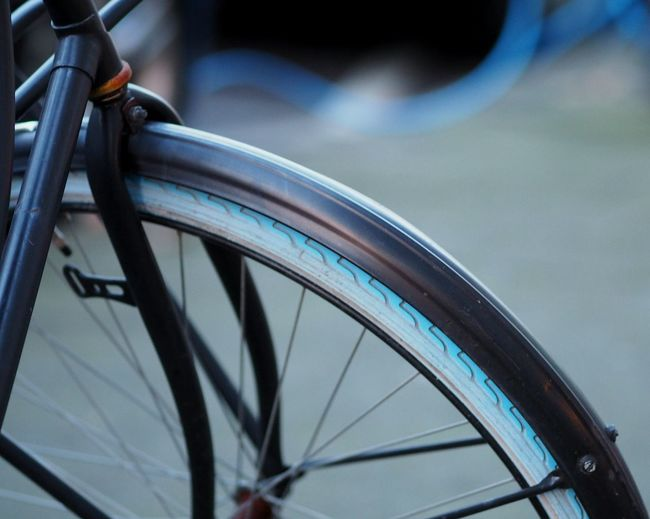 Bicycle Bike Wheel Cycling Tire Spoke No People Outdoors Closeup Details Transportation Tube Cable Colour Winter Blues