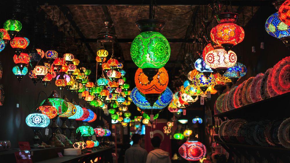 Multi Colored Hanging Lantern Illuminated Indian Lantern Shop Lighting Equipment Glass Lantern Business Stories The Still Life Photographer - 2018 EyeEm Awards