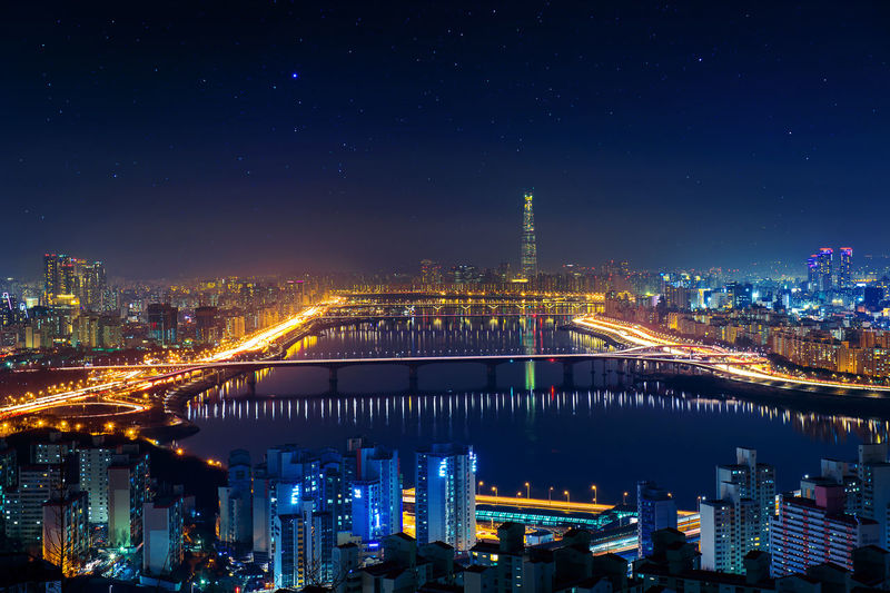 South Korea skyline of Seoul, Cityscape in South Korea. Architecture Bridge - Man Made Structure Building Exterior Built Structure Chain Bridge City Cityscape High Angle View Illuminated Korea Korean Night No People Outdoors River Seoul Sky Skyscraper Travel Destinations Urban Skyline Water