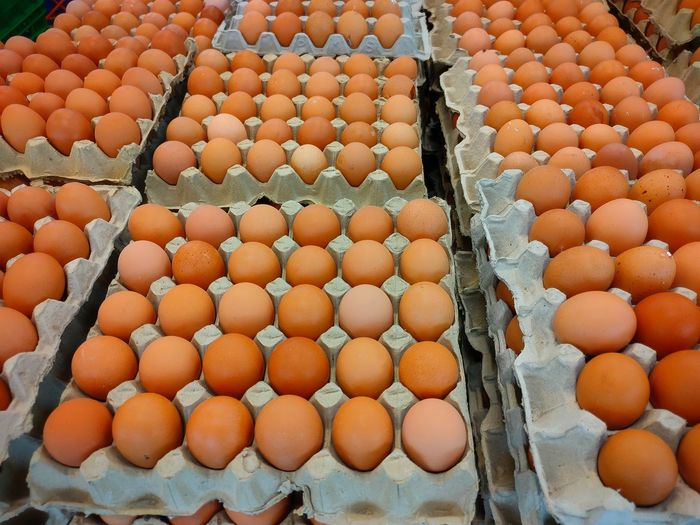 High angle view of eggs in market