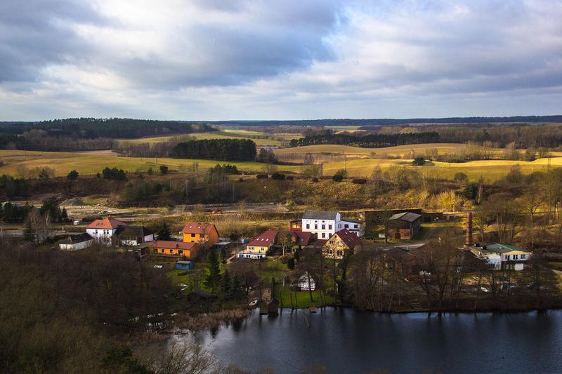 Häuser Felder See Aussicht Lake A Bird's Eye View