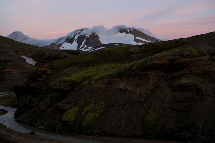 My first time in Iceland and the first time around other tourists, who are peeing to the river without any shame. Unfortunately not the last Cloud Iceland Pink Sky Beauty In Nature Cold Temperature Environment Geology Idyllic Kerlingarfjöll Landscape Mountain Mountain Peak Outdoors Sunset Travel