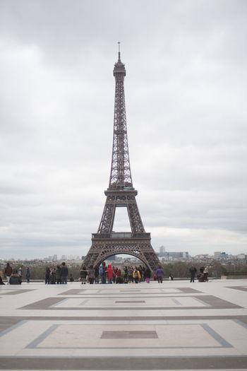 Tourists Near Eiffel Tower