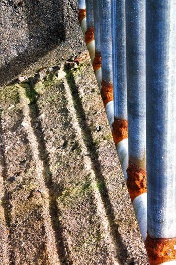 Dramatic Angles Aluminium Bars Angles And Lines Bars Cattlefarm Concrete Floor Concrete Wall Corner Day Dramatic Grid Husbandry Inarow Inclination Lined Up Outdoors Rusty Maximum Closeness