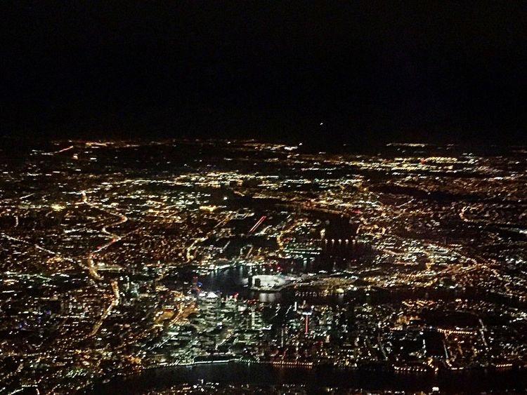 The city from above Flying Airplane Aircraft London City Night London City Airport