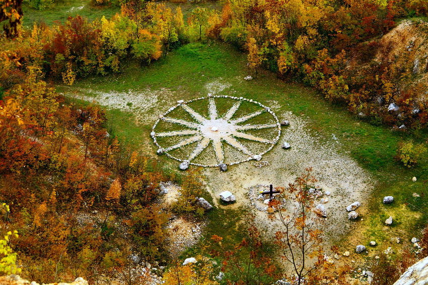 Above the Healing Star Healing Autumn Beauty In Nature Change Day Green Color Growth Landscape Leaf Nature No People Outdoors Pilis Pilisszántó Plant Scenics Star Stone Stones Tranquility Tree Water