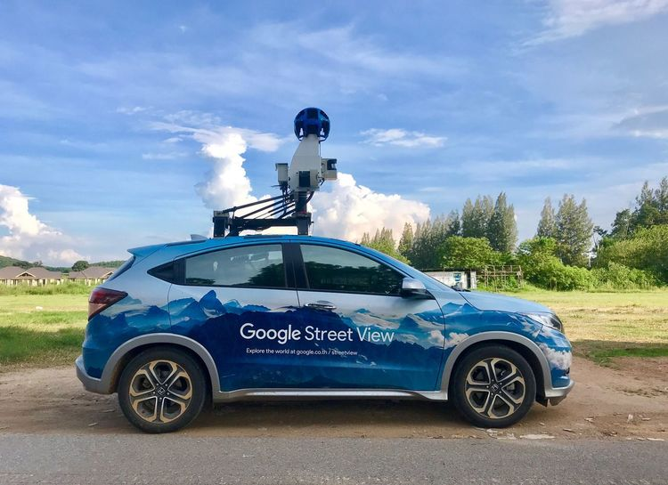 Google Street View Mode Of Transportation Transportation Sky Cloud - Sky Motor Vehicle Land Vehicle Car Nature Communication Blue Road Tree Security Outdoors Text No People Plant Sunlight Day Government