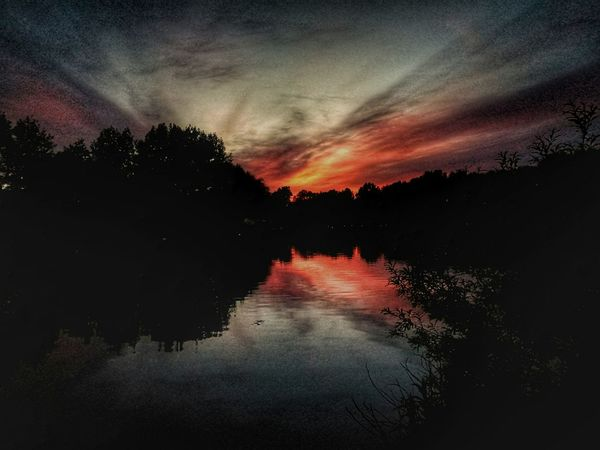 Reflection Dramatic Sky Sunset Scenics Tranquil Scene No People Silhouette Tranquility Beauty In Nature Cloud - Sky Nature Lake Tree Water Sky Star - Space Outdoors Landscape Astronomy Night The Great Outdoors - 2017 EyeEm Awards BYOPaper!