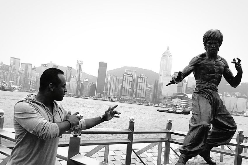 Aroundtheworld Taking Photos Hanging Out Traveling That's Me vs Bruce Lee Black & White Action EyeEm HongKong