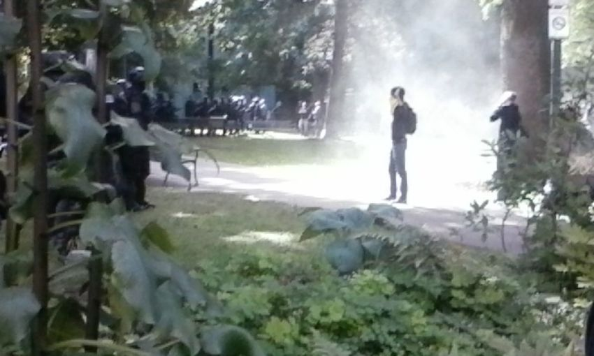 Antifa Rally at Chapman Square on June 4th 2017. Where I watched a Peaceful Protestor have a smoke grenade tossed a flash bomb thrown close behind them and a Portland Police Riot Squad Officer did a forward lunge arm outstreched mace in hand spray them in the face. This photo was captured during videoing The Rally, I Am Appauled At PPB's actions towards protesters. Antifa Anarchist Portland Oregon Chapman Square Rally Protest Solidarity Portland Police Buruea Equality First Eyeem Photo