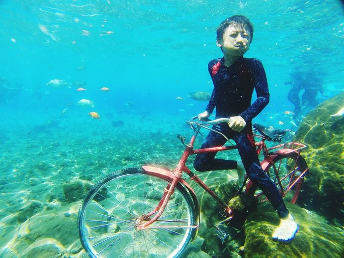 UnderSea Scuba Diving Athlete Water Underwater Sport Full Length Beauty Snorkeling Underwater Diving