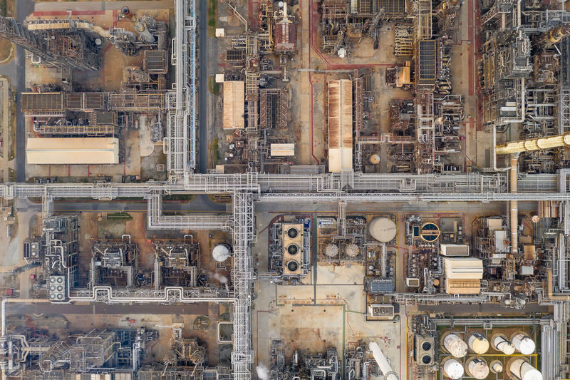 Refinery industry pipeline and storage top view from drone