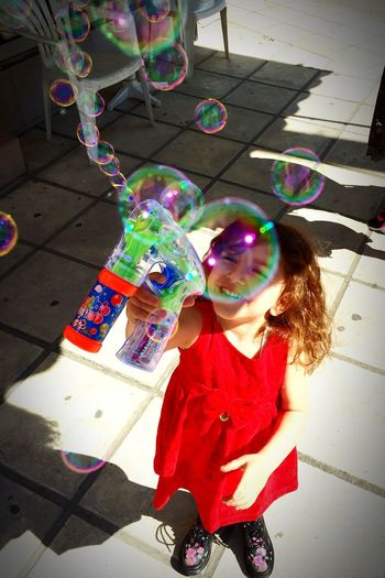 Bubble Wand Bubble Childhood Blowing Casual Clothing Girl Playing Having Fun Red Happiness EyeEmNewHere