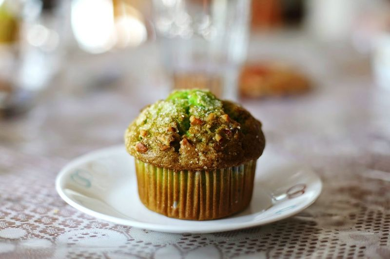 Close-Up Of Muffin Served In Plate On Table