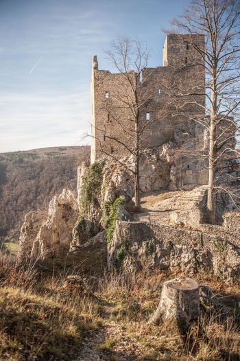 Ruined reussenstein castle against sky