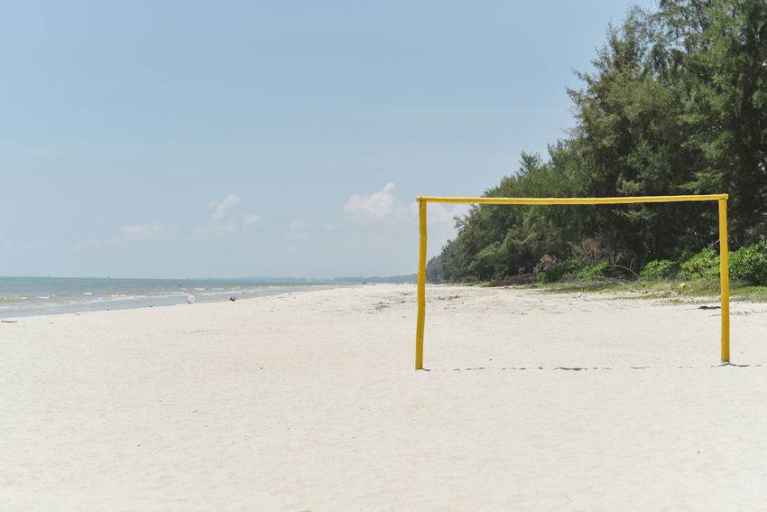 Attraction at beach - goal post beach soccer/football Football Leisure Activity Lifestyle Beach Sand Sea Soccer Water Goal Post Outdoors Sky Day Nature Tree No People