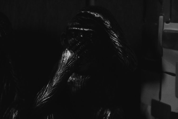 Y hacerse el mudo, cuando quieres gritar la verdad. Monkey Without Ears Blackandwhite Photography Blacl And White Blackandwhite Art, Drawing, Creativity Artistic ArtWork Black White Monkeys Sculture Monkey Without Eyes Monkeys Lamplight Monkey Withouth Mouth