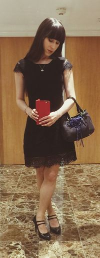 Little Black Dress Woman Girl Selfie ✌