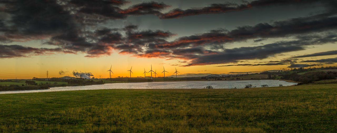 Loch Gelly #Panorama Canon Canonphotography Colorful Grass Lake Lake View Loch Gelly Panorama Reflection Scotland Sigma Sun Sunset Water Wide Shot Wind Wind Turbine