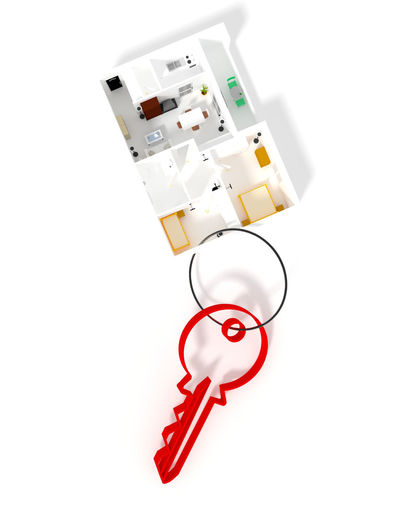 Key ring with a shape of a small apartment Keyring Estate 3d Rendering Flat Home House Architecture Real Estate Residential  Apartment
