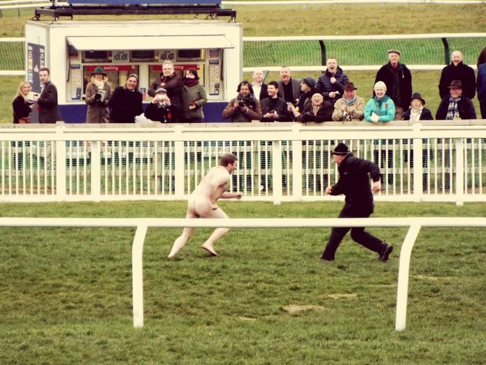 Cheltenham Gold Cup Cheltenham Races Cheltenham 2016 Streaker Man V Steward Who Will Win You Decide British Humour No Clothes  Funny Moments Dare To Be Different Brave Chap Check This Out! Looks Cold Gold Cup Day 2016 Go For It Legend Run Forest Run