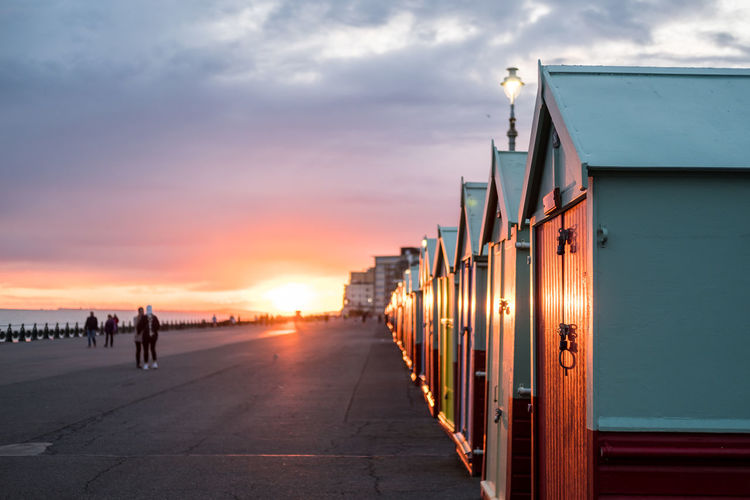 Sunset Sky Cloud - Sky Architecture Nature Built Structure Orange Color In A Row Water Incidental People Sea Outdoors Direction Group Of People The Way Forward Travel Building Exterior Transportation City Beach Brighton Uk England