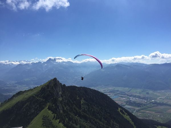 Sun Summer Hiking Switzerland Sky Mountains Sky And Clouds Paragliding