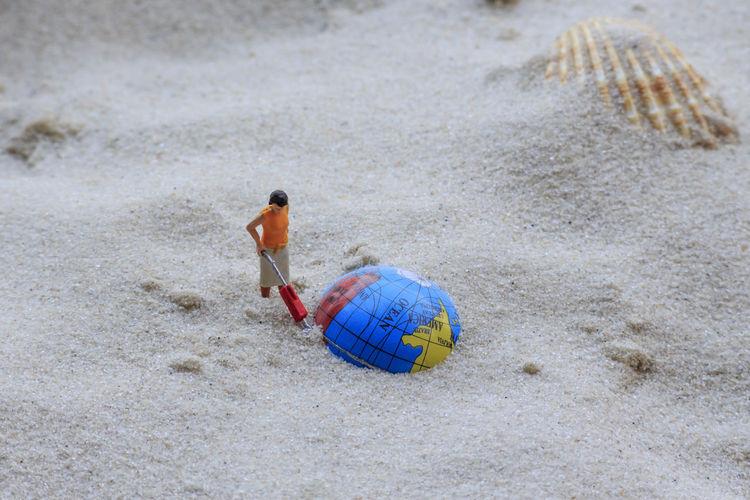Figurine and seashell on sand at beach