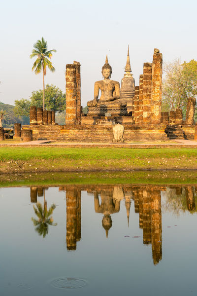 Buddha Exotic Morning Light Palm Tree Pond Reflection Ruins Statue Sukhothai Historical Park Sunlight Thailand Travel Adventure Blue Sky Buddha Statue Buddhism Culture Day Heritage History Sukhothai Sunrise Travel Destinations Water