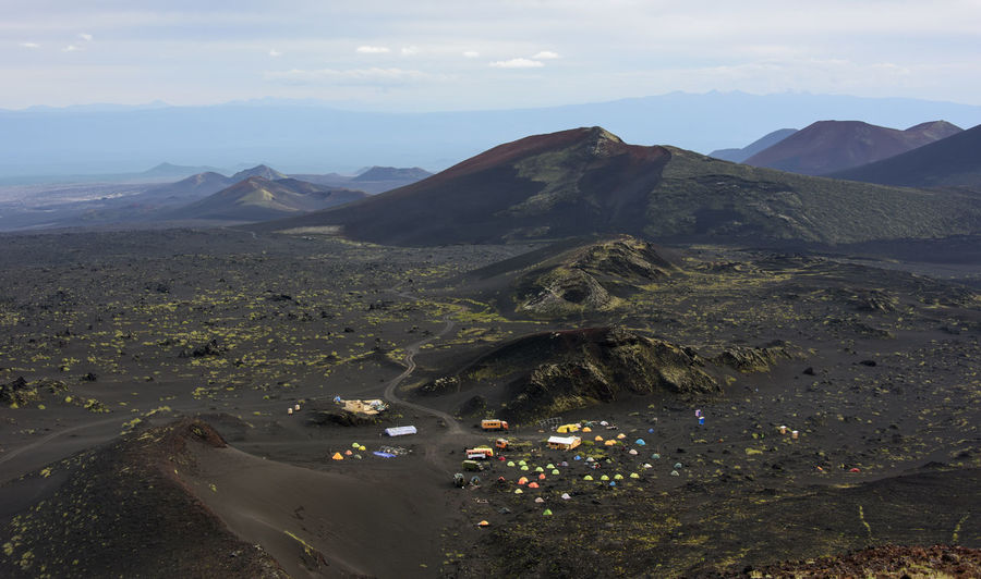 Basecamp near Tolbachik volcano at Kamchatka from above Aerial View Beauty In Nature Day Desert Far East Kamchatka Landscape Mountain Nature No People Outdoors Russia Scenics Sky Travel Destinations