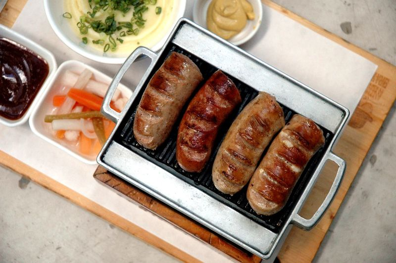 Food Food And Drink Freshness Meat High Angle View Table Indoors  Healthy Eating No People Close-up Ready-to-eat Tray Still Life Indulgence In A Row Wellbeing Serving Size Dinner Sausage Kielbasa Mashed Potatoes Pork Mustard Eyeem Philippines Eyeem Philippines Album
