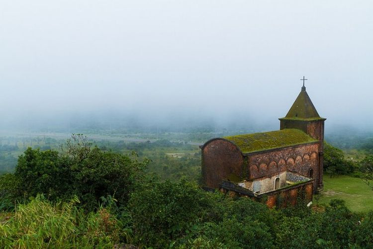 Abandoned church in Bokor National Park, Kampot, Cambodia. Travel Explore Bokor Mountain Cambodia Fog Agriculture Field Rural Scene Grass Morning