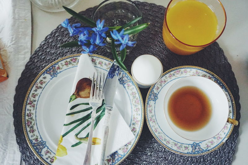 Set the table Breakfast Cup Day Dining Table Drink Drinking Glass Easter Easter Egg Easter Eggs Easter Ready Easter Sunday Eating Utensil Flower Food Food And Drink Freshness Healthy Eating High Angle View Indoors  No People Place Setting Plate Ready-to-eat Table Tablecloth
