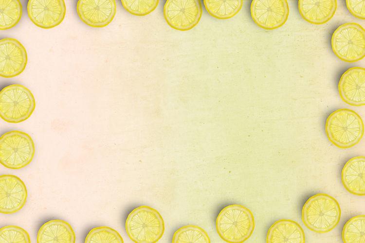 High angle view of lemon slices on table