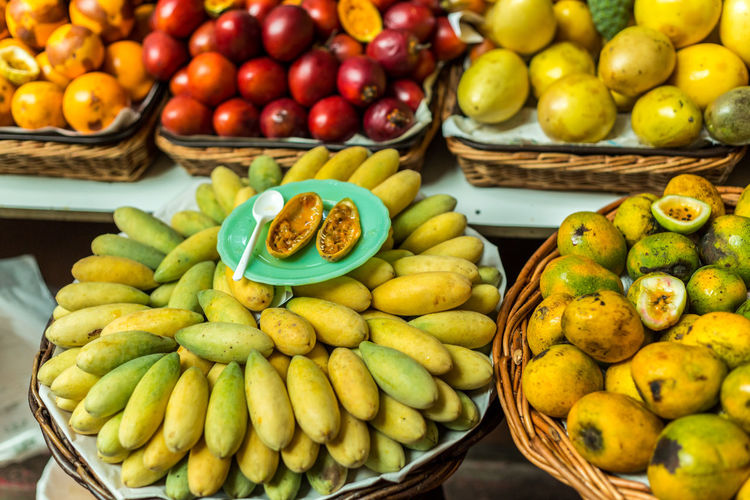 Fruits in wicker for sale at market