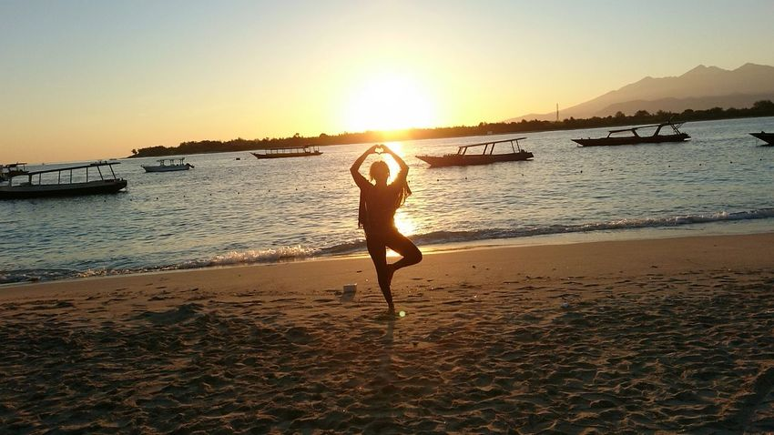 Gili T Lombok INDONESIA Sunrise Yoga Sand Beach Boats Beauty In Nature Beautiful Backgrounds Ocean Live For The Story