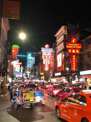 Bangkok Chinatown Chinatown Bangkok Chinatown Bangkok Night Illuminated Transportation Mode Of Transportation City Car Adventures In The City Street Motor Vehicle Architecture Land Vehicle Building Exterior Built Structure City Life City Street Road Motion Travel Traffic Lighting Equipment Street Light Adventures In The City