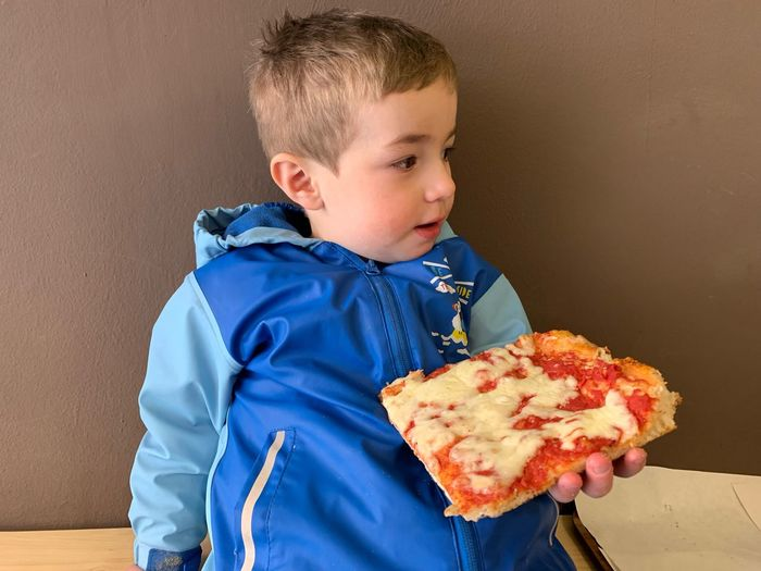 Pizza Time EyeEm Selects Childhood Child One Person Males  Indoors  Cute Innocence Lifestyles Men Front View Boys Real People Blue Holding Food Offspring Eating Casual Clothing