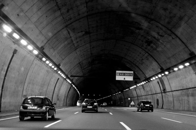 Architecture Blackandwhite Car Cars Exceptional Photographs EyeEm Best Shots EyeEm Best Shots - Black + White EyeEmBestPics From My Car From My Point Of View Illuminated In Motion Lights On The Move Outdoor Photography Outdoors Perspective Road Road Marking Road Sign Roadtrip The Drive Tunnel Tunnel Vision Vehicle