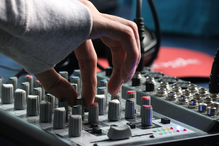 Dj Human Hand Mixing Music Recording Studio Sound Mixer Sound Recording Equipment Studio Technician Technology
